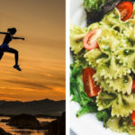 woman jumping and running in one image then another image showing carbohydrates on a plate highlighting the importance of carbohydrates post workout