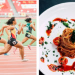 women running in a sprint event and a plate of pasta in another image