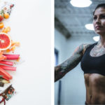 fruit and healthy food and a woman looking strong and healthy