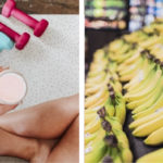 featured image of bananas and a woman drinking a protein shake highlighting when to eat carbohydrates and protein